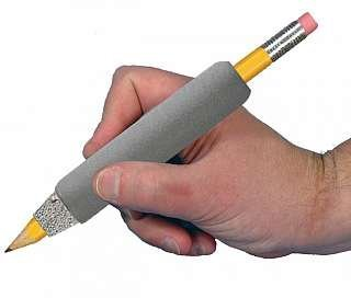 Hand holding a universal weighted pen holder