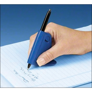 User's hand writing with the Steady Write pen-holder