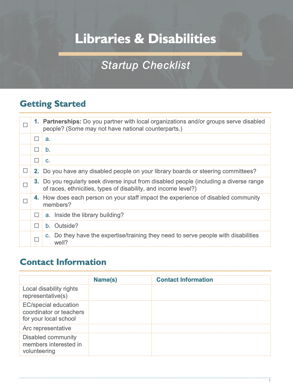 Screenshot of the Libraries & Disabilities Startup Checklist, linked to the accessible .docx file