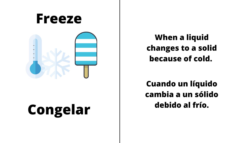 Freeze. When a liquid changes to a solid because of cold. Cuando un líquido cambia a un sólido debido al frío.