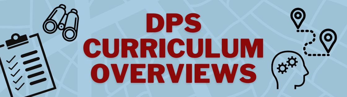 DPS Curriculum Overviews decorated with images of a checklist, binoculars, and map icons